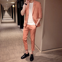Bridegroom Suit Boys Prom Mens Suit With Pants 2 Piece Casual Green Man Suits Half Sleeve Groom Tuxedo Costume Homme Summer