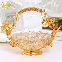 1Pcs Hollow Metal Flower Fruit Serving Tray Candy Blows Golden Decorative For Wedding Party Supplies And
