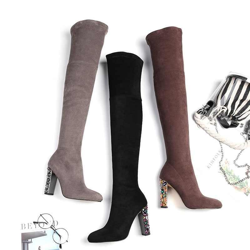 MEMUNIA boyutu 33-44 sıcak 2020 yeni yüksek kaliteli suni süet diz çizmeler üzerinde yapay elmas renkli yüksek topuklu zip kadın bot ayakkabı
