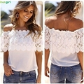 Hot Brand Sexy Women Off Shoulder Casual Tops Blouse Lace Crochet Chiffon Shirt