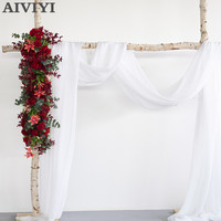 New wedding flowers Clematis Eucalyptus lined flowers artificial flowers arches flower wall wedding props T stage background