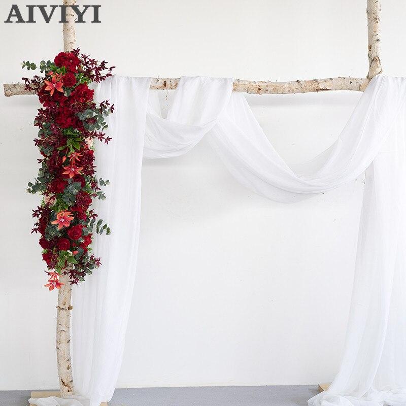 Nouveau mariage fleurs clématite Eucalyptus doublé fleurs fleurs artificielles arches fleur mur mariage accessoires T scène fond