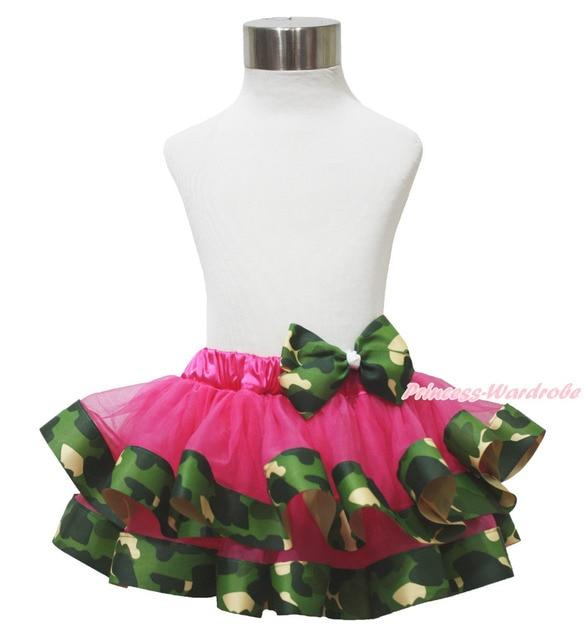 Ярко розовый зеленый камуфляж камуфляж атласа обрезается пачки девочка юбка с бантом NB-8Y MADRE0055