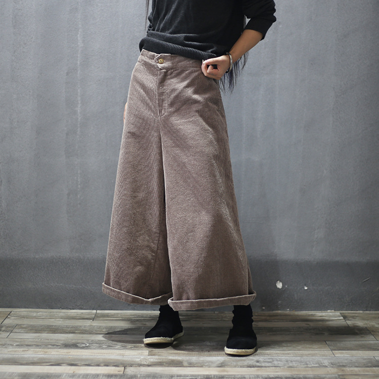 Women Autumn Winter Retro Corduroy Wide Leg Pants Ladies ...