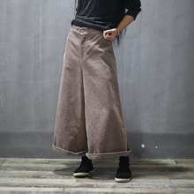 Women Autumn Winter Retro Corduroy Wide Leg Pants Ladies Loose Elastic Waist Calf Length Trousers Female Wide Leg Trousers