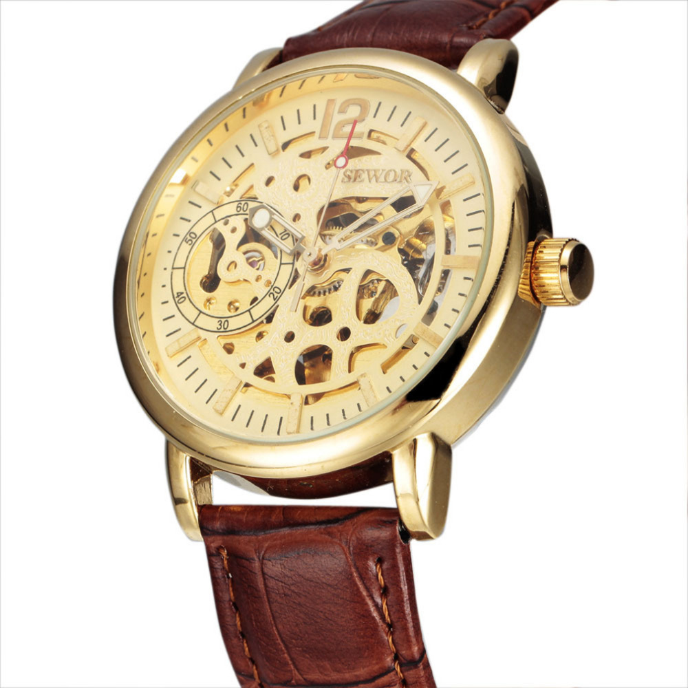OUTAD Brand Men Automatic Watch Luxury Skeleton Mechanical Watches Men's Gold Stainless Steel Clock Relogios Masculino Gift luxury watch brand agelocer vogue automatic watch steel luxury men s watch skeleton mechanical watch with original gift box