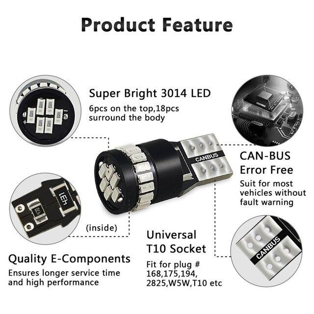 2x W5W T10 bombilla LED bombilla de luz de estacionamiento para Mercedes Benz W204 W203 W205 W211 W212 W210 W124 194-168 coche de la luz Interior