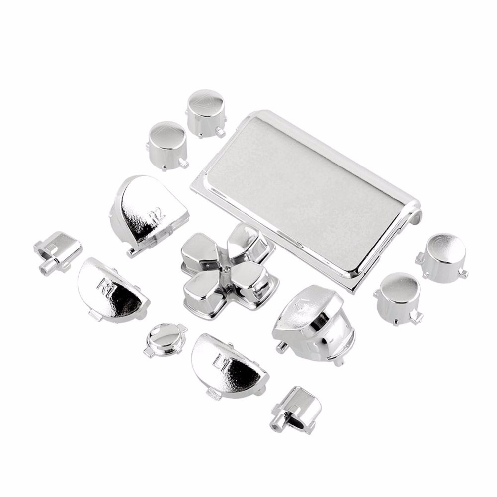 Gasky Buttons Kits Chrome Silver For PS4 Video Game Console Controller Gamepad Joystick Professional Replacement Accessories Boy