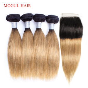 Image 3 - MOGUL HAIR 50g/pc 4 Bundle with Closure Honey Blonde Bundles With Closure T 1B 27 Brazilian Straight Ombre Non Remy Human Hair