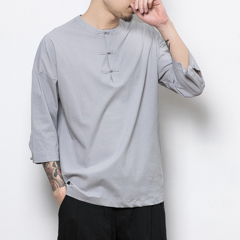 Chinese Style Button Linen Flax T Shirt For Men Summer