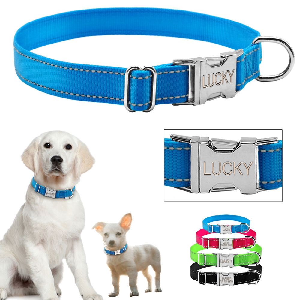 Personalised Dog Collars Reflective Engraved Pet Puppy ID Name Collar Tag S M L