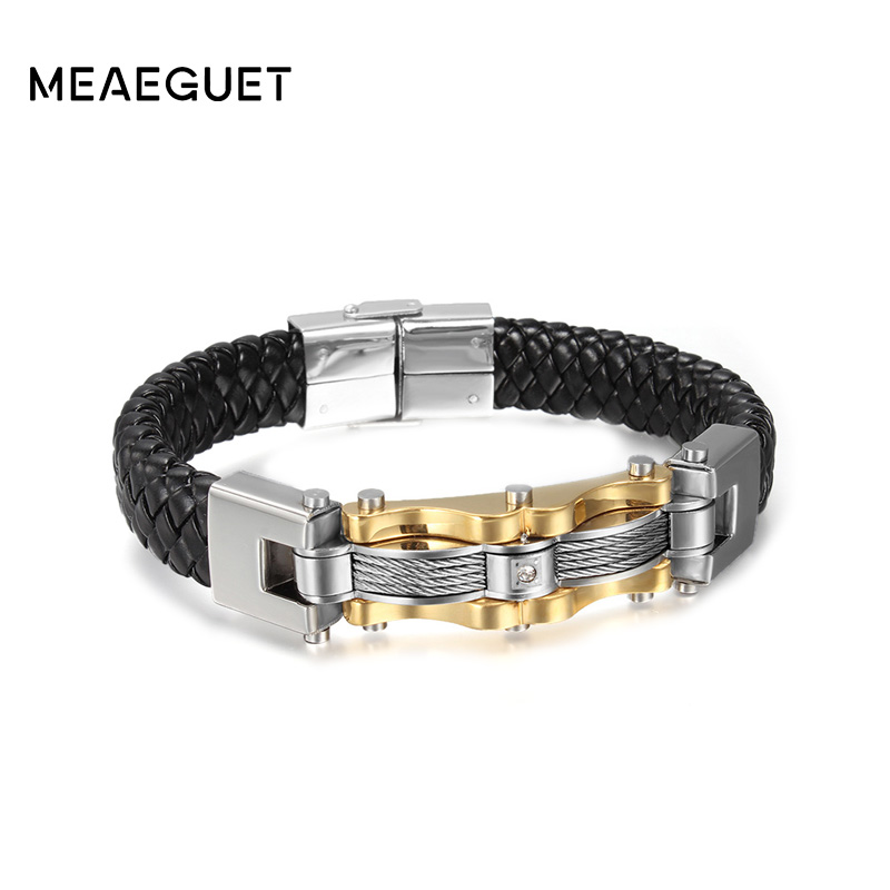 Meaeguet Gold Color Stainless Steel Leather Bracelet With CZ Stone Male Vintage Accessories Wia Bracelet Jewelry
