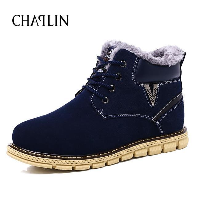 Nova Chegada Dos Homens de Alta Qualidade Botas de Inverno Confortáveis Lace-up Masculino Zapatos Casuais Rodada Toe de Camurça Botas de Neve Sólidos sapatos 80127
