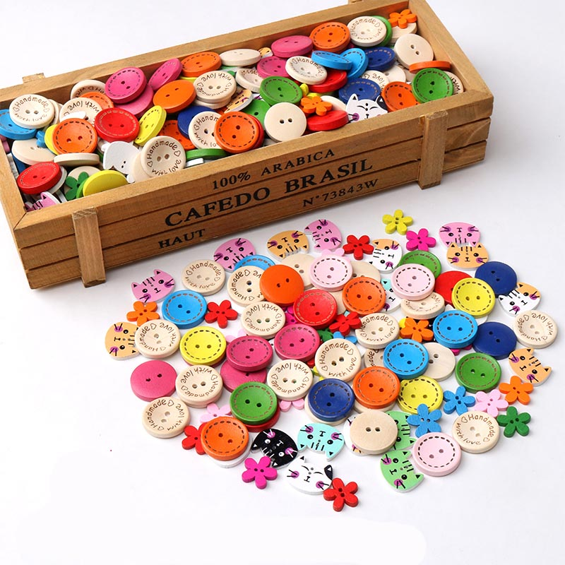 40 шт. Высокое качество DIY деревянная картонная пуговица Смешанная детская пуговица для одежды