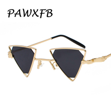 PAWXFB 2018 New Punk Triangle Sunglasses Women Men Metal Frames Vintage Black Red Yellow Pink Sun Glasses Oculos de sol Shades все цены