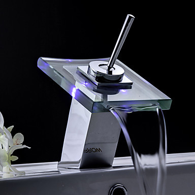 Bathroom Sink Faucets Color Changing LED Waterfall Tap Glass Spout,Torneira Para De Banheiro color changing led waterfall tap for bathroom sink faucet torneira para de banheiro