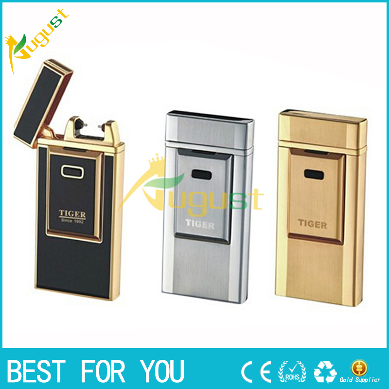 1pc Tiger lighter windproof ultra thin metal pulse charge usb lighter electronic cigarette lighter