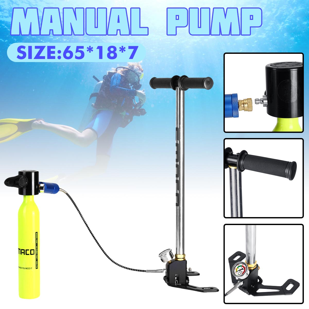 For 0.5L Scuba Diving Spare Tank Hand Pump Oxygen Air Tank Hand Operated Pump For SMACO Spare Underwater Breathing Accessories|Snorkels| |  - title=