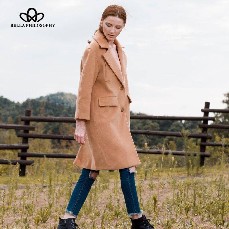 Bella Felsefesi 2018 Yeni yün uzun kalın ceket ceket Kadınlar - Bayan Giyimi - Fotoğraf 5
