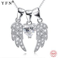 Necklace Women 925 Sterling Silver Angel Wings Pendants Necklaces White Cubic Zirconia Sweet Necklace Women Silver 925 Jewelry