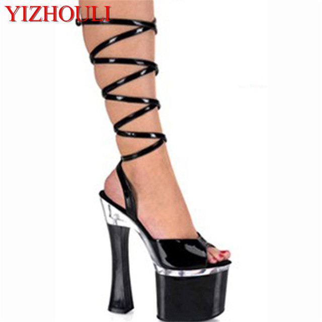 a7e72b6a24af 18 cm high heel sandals package with clubs in Europe and America black shoes  Big yards heels for women s shoes