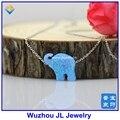 (1 pc/lot) Lovely OP06 Sintético Libre del envío 12*14mm Elefante Opal Plata de Ley 925 O collar de cadena de Joyería de moda
