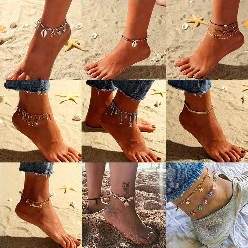 Starfish Pendant Anklets 2019 For Women New Stone Beads Shell Anklet Bohemian Bracelets On Leg BOHO Ocean Jewelry Wholesale