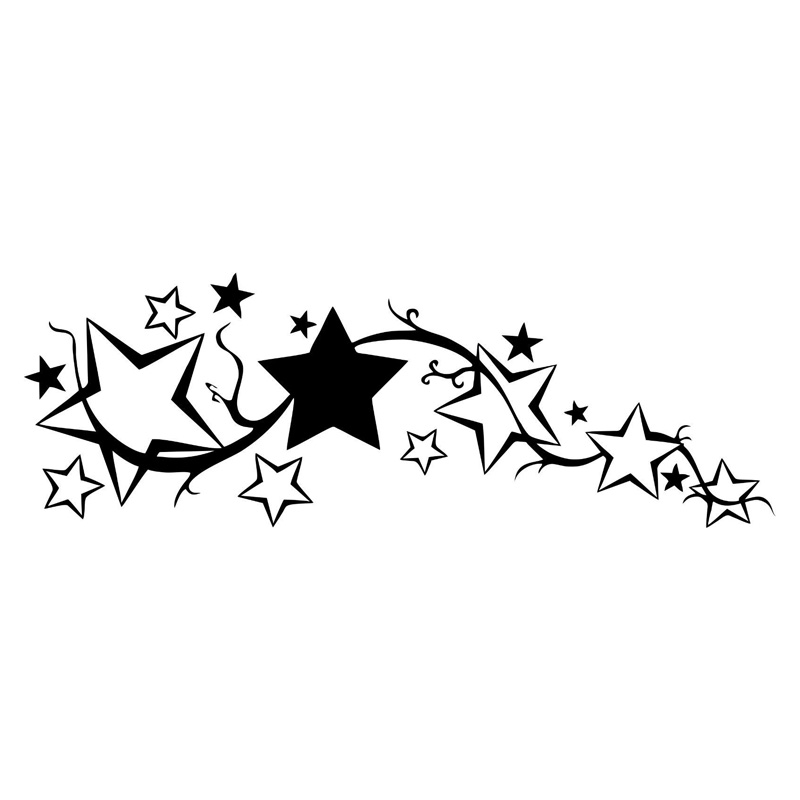 22.7*7.7CM Bright Stars Car Stickers Personalized Custom Motorcycle Vinyl Decals Black/Silver C7-1679