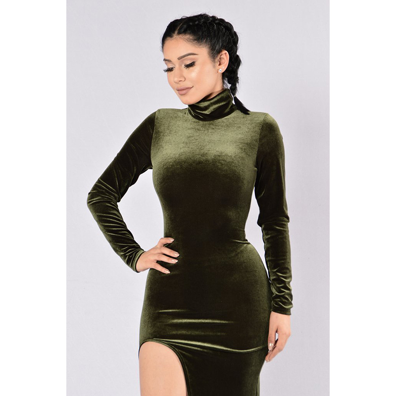 Elegant Women High Neck Long Sleeve Split Office Ukraine Vintage Tunic Warm Autumn Female Vestidos Sexy Velvet Dresses