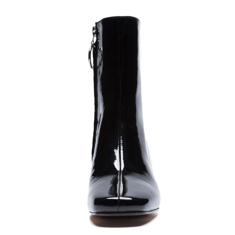 Hauts Femmes Mode D'âge Cuir En Carré À Noir Concise Bout Cheville Véritable De Msfair Chaussures Mûr Bottes Zipper Talons blanc Marque 1nXxIwp