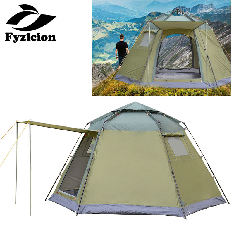 Tent outdoor 5-8 people automatic hex speed open multi-person family thick rainproof Hiking camping tent image