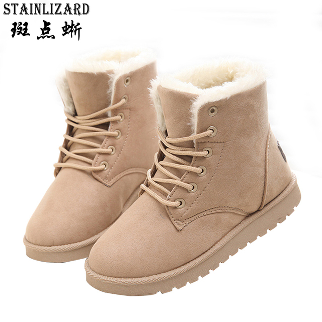 7ae8c2c29fc6 Winter Woman Boots Lace-up Ladies Flat Ankle Boot Casual Round Toe Women  Snow Boots Fashion Warm Plus Cotton Shoes ST903