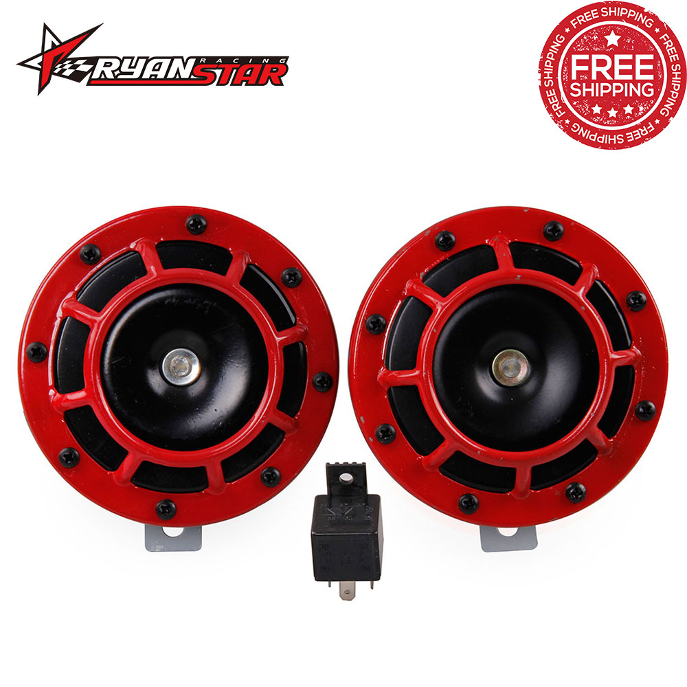 FREE SHIPPING Red 2pcs 12v 110dB Super Loud Compact Electric Air Blast Tone Horn For Motorcycle And Car