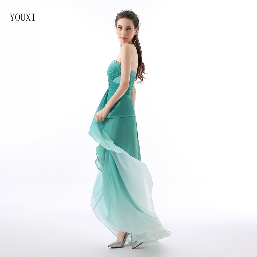 Gradually Dark Green Chiffon High Low Prom Dresses 2016 Vestidos De ...