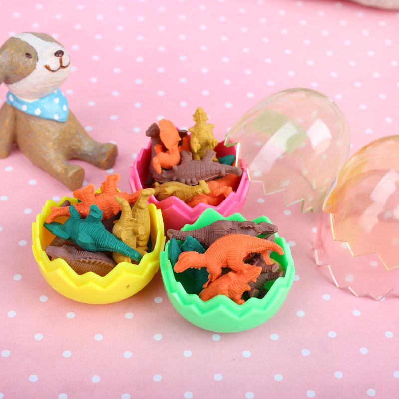 Купить с кэшбэком 8x Creative stationery children cute cartoon Dinosaur egg eraser primary school prizes school kawaii school kawaii Gift