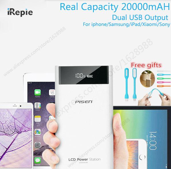 Originais 2a pisen 20000 mah banco de energia móvel 18650 10000 mah dual usb lcd carregador powerbank para iphone samsung xiaomi