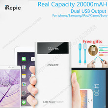 Original PISEN 2A 20000mAh Mobile Power Bank 18650 10000 mah Dual USB LCD Display Powerbank Charger For Iphone Samsung XIaomi