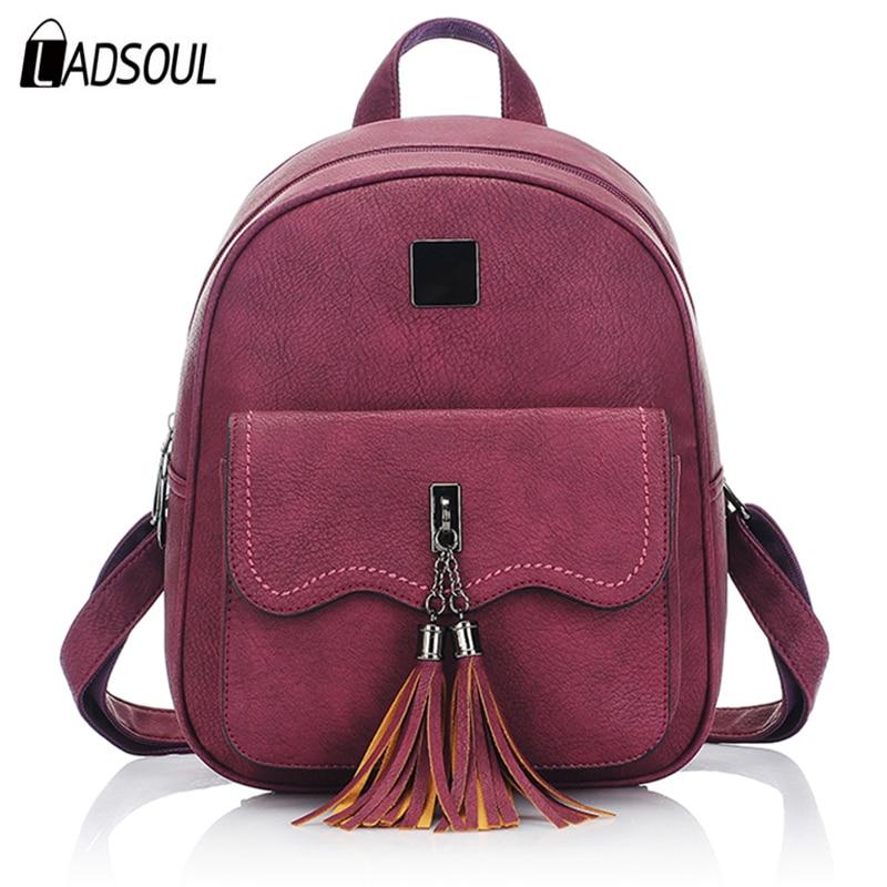 LADSOUL tassel women pu leather backpacks vintage teenage backpacks for girls female shoulder bag travel bag organizer mochila