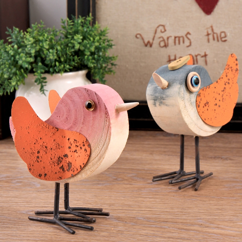 Creative Natural Pure Wooden Birds Duck Figurines Home Wine Cabinet Decoration Crafts for Christmas Gifts Tea Ceremony Tea Pets