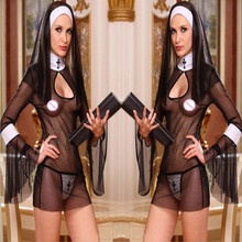 2017 New Sexy Mulheres Traje Cosplay Uniforme Transparente Sexy Lingerie Exotic Nun Halloween Freiras Trajes Vestido Outfit Roupas