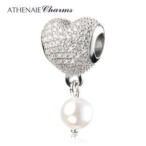 Image 2 - ATHENAIE 925 srebro z różową kokardką wkładka CZ serce delikatny róż emalia z muszlą wisiorek z koralików krople koralik Charms