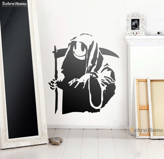 banks smiling face death wall sticker sitting room bedroom 10165 | banks smiling face death wall sticker sitting room bedroom home decoration decals 60 x68cm mural wallpaper