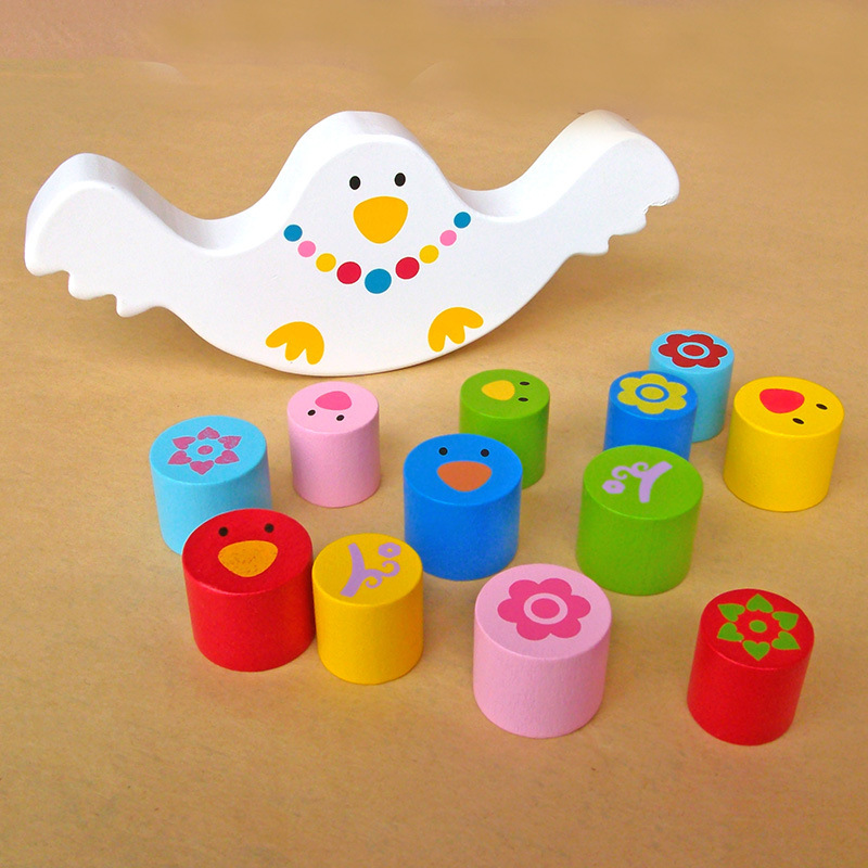 Montessori Teaching Aids Babies Early Bird Balance Beam Building Blocks, Children's Toys, Wooden Educational Toys