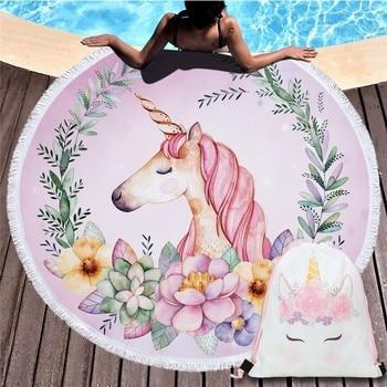 Cartoon Unicorn 150cm Round Beach Towel Wall Tapestry Picnic Blanket Portable Outdoor Sport Storage Bag Bundle Pocket Kids Gift 7