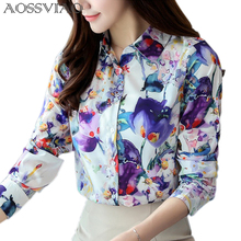 2017 New Style Lady Print Shirts Formal Work Blouse Size S-2XL Korean Women Printed Chiffon Slim Fit