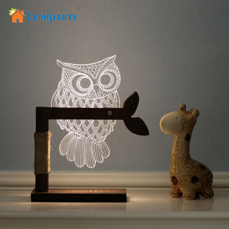 LumiParty Night Light 3D Lamp Owl Shape 3D Lights Children's nightlight Visual Led Night Lights Illusion Mood Lamp US/EU Plug three dimensional 3d visual reading lights wood acrylic clear small lamp button type led stereo night light folding book lights