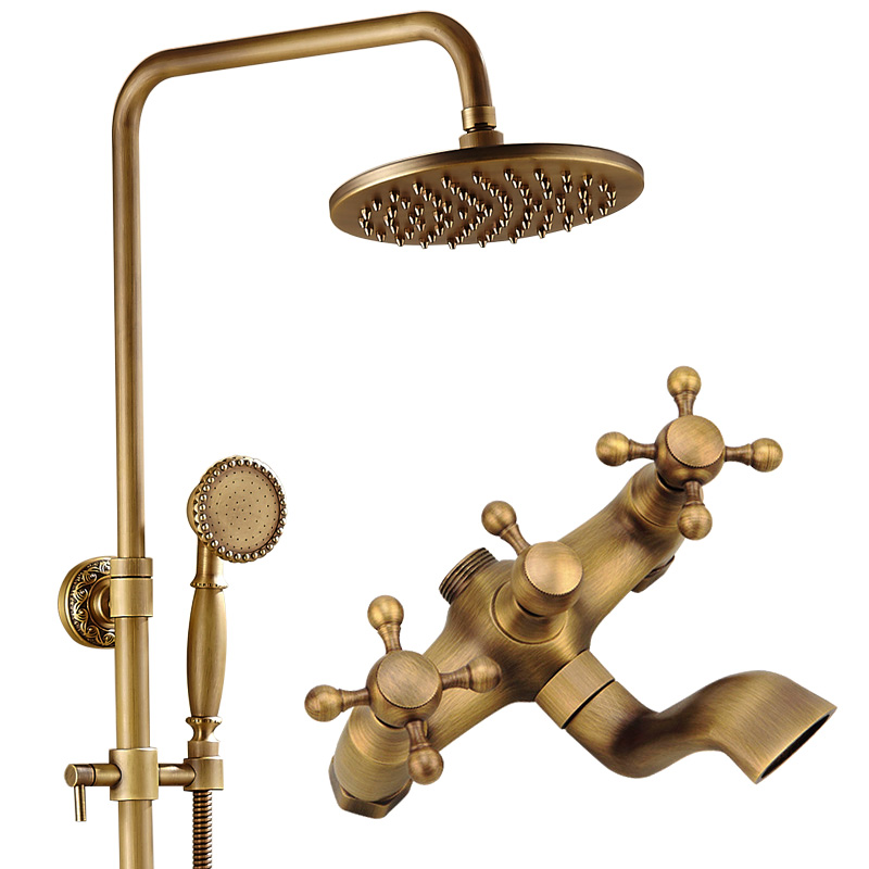 Luxury Antique Brass Carving Rainfall Shower Sets Faucet Mixer Tap With Tub Faucet Brass Bath Ceramic Shower Mixer Set Bathroom shower faucet wall mounted antique brass bath tap swivel tub filler ceramic style lift sliding bar with soap dish mixer hj 67040
