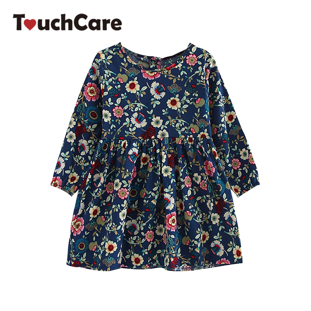 Girls Flower Dress Kids Long Sleeve Cotton Clothes Girl Princess Gown Robe Floral Print Dresses Children Party Wedding Clothing azel 4 12t children party wear short front long back formal dress white princess wedding flower girl vestidos girls clothes