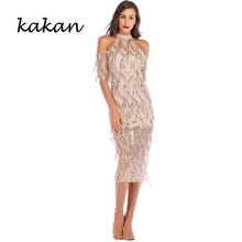Kakan 2019 new womens tassel sequin dress sexy club party hollow strapless fashion