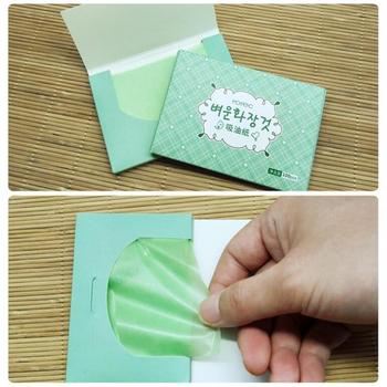 100 folhas / pacote Chá Verde Folhas de Mancha de Óleo Facial Limpeza de Papel Controle de Óleo Facial Papel Absorvente Ferramentas de maquiagem de beleza 1